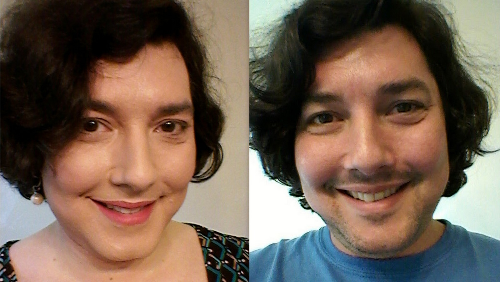 Side-by-side close-up images of the author presenting as feminine and masculine.
