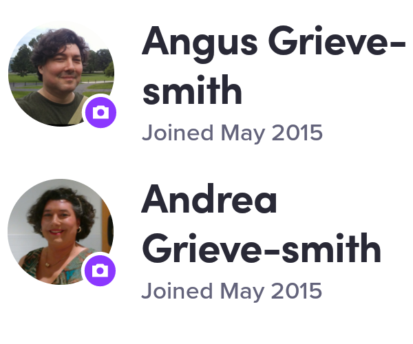 Screen captures of Lyft profiles for Angus Grieve-Smith and Andrea Grieve-Smith, with gendered photos